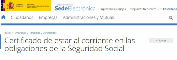 Certificado de la Seguridad Social