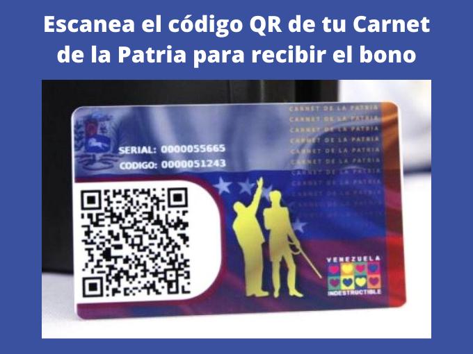 Escanea el código QR de tu Carnet de la Patria para recibir el bono