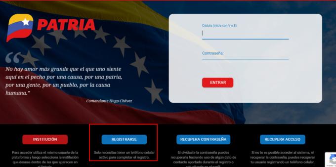 Registrarse Patria