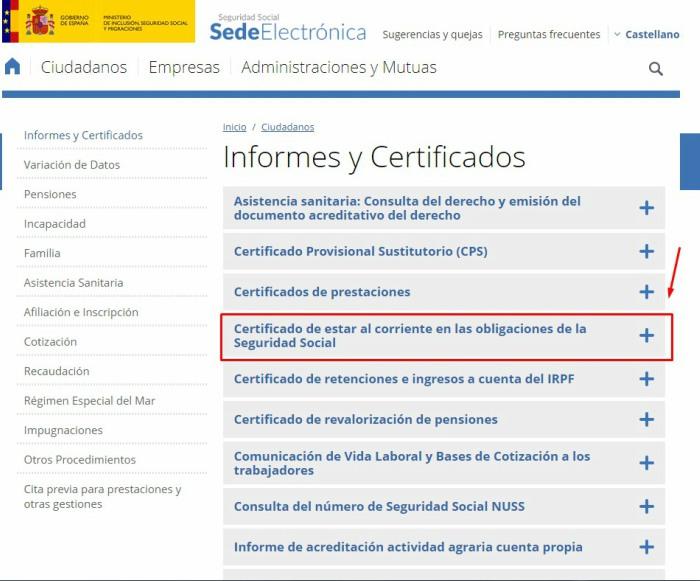 Selecciona certificado de Seguridad Social
