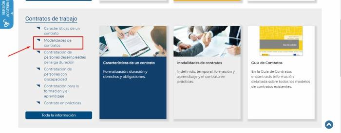 Seleccionar modalidades de contrato 189