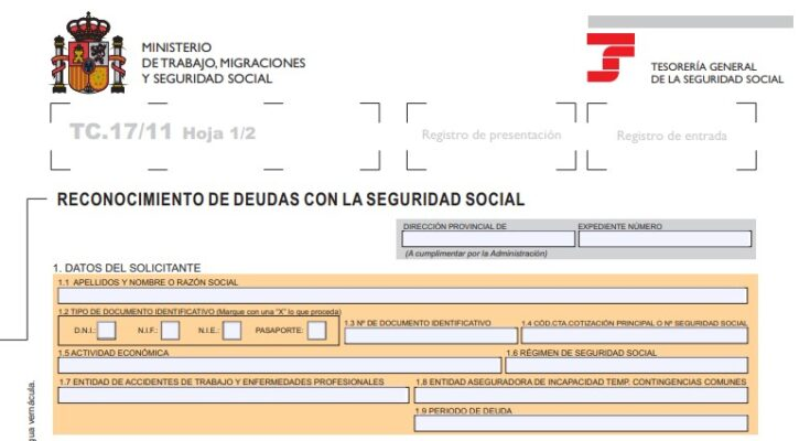¿Cómo descargar el Modelo TC 17/11 para aplazamiento de deuda seguridad social?